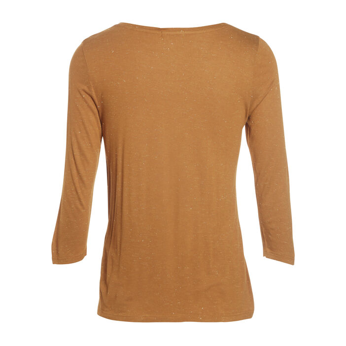 T-shirt manches 3/4 col rond camel femme