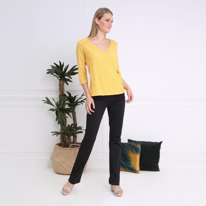T-shirt manches 3/4 noué jaune femme