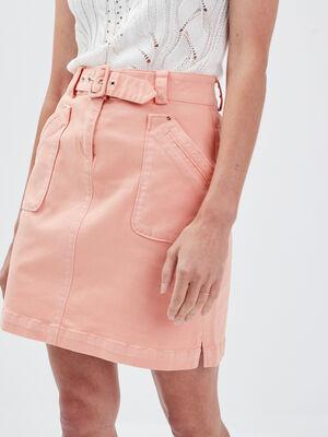 Jupe droite ceinturee rose clair femme