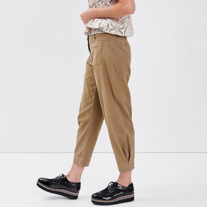 Pantalon flou taille standard vert olive femme