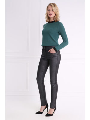 Pantalon taille haute coupe ajustee noir femme