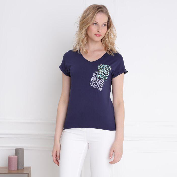 T-shirt manches courtes poche bleu marine femme