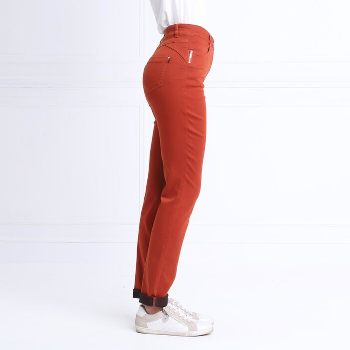 Pantalon taille standard zip poches rouge femme