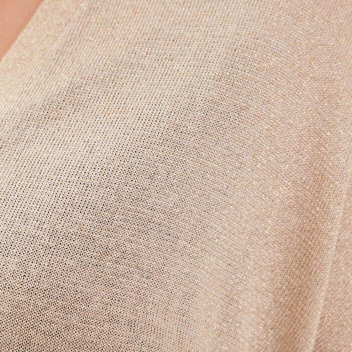 Gilet manches courtes marron clair femme