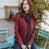 Veste droite ceinturee rouge femme