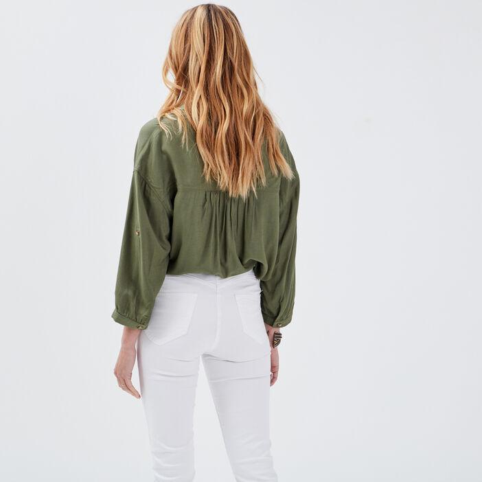 Chemise manches 3/4 vert kaki femme