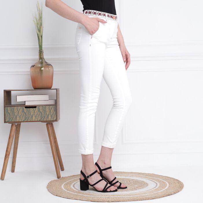 Pantalon ajusté taille basculée 7/8ème creme femme