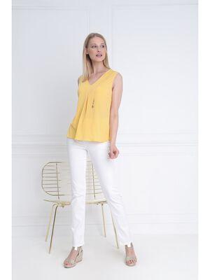 Debardeur col en V chainettes jaune femme