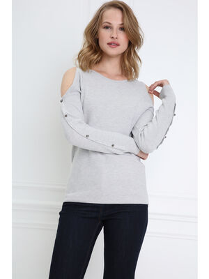 Pull perle col rond gris clair femme