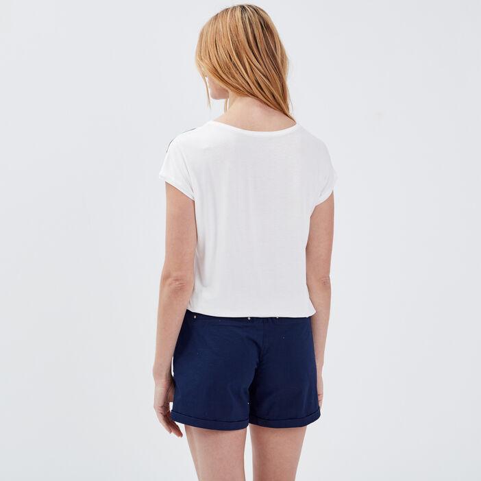 T-shirt manches courtes noué bleu marine femme