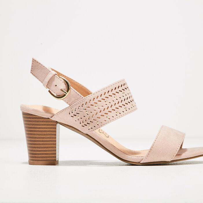 Sandales à talons bottiers rose poudrée femme