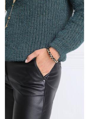 Bracelet jonc ferme noir femme