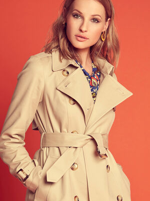 Trench droit double boutonnage beige femme