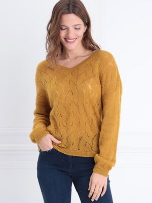 Pull manches longues ajoure jaune femme