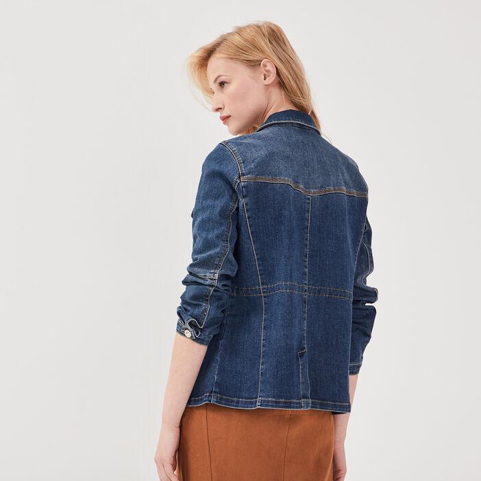 Veste droite boutonnée en jean denim stone femme