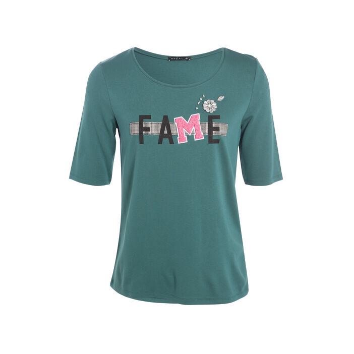 T-shirt col rond impimé manches au coude vert canard femme