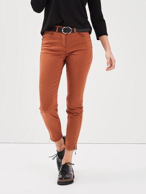 Pantalon 78 satin marron cognac femme