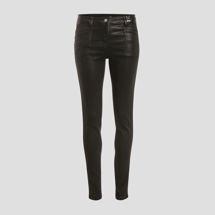 Pantalon enduit mat noir femme