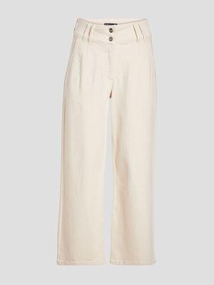 Pantalon large taille haute ecru femme