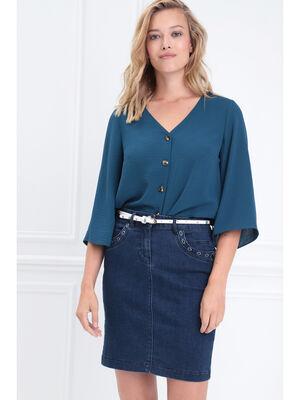 Chemise manches 34 col en V bleu canard femme
