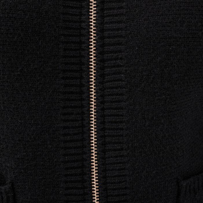 Gilet manches longues zippé noir femme