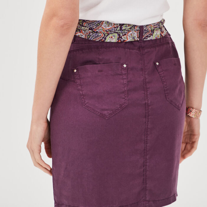 Jupe droite ceinturée violet foncé femme