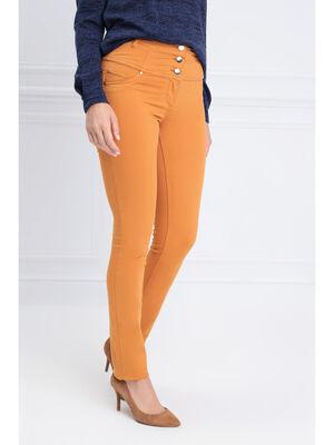 Pantalon magique sculptant uni jaune moutarde femme