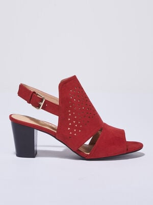 Sandales a talons perforees rouge fonce femme