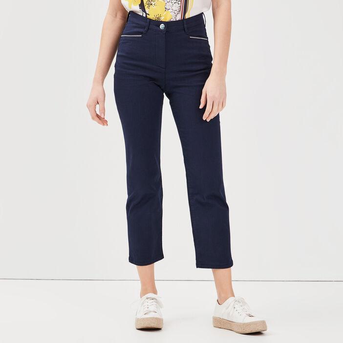 Pantalon droit taille haute bleu marine femme