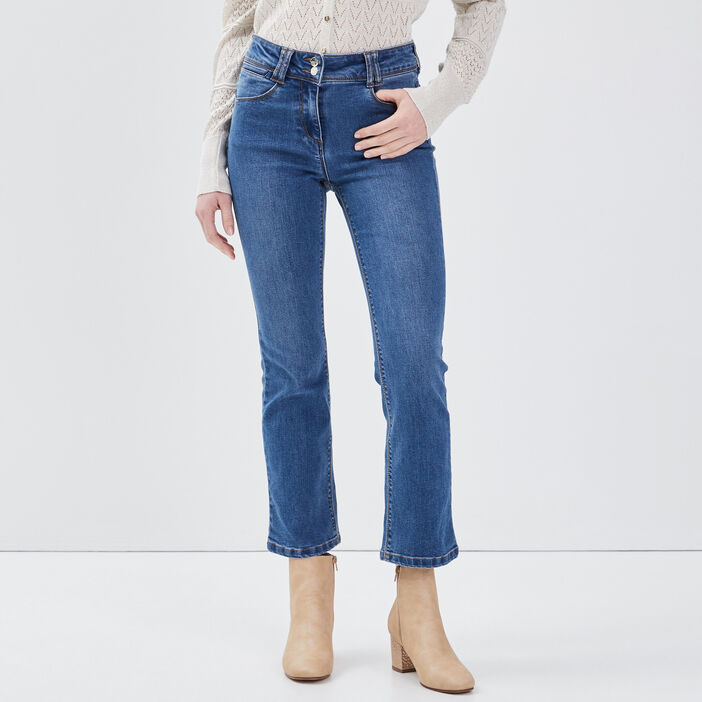 Jean large taille basculée denim stone femme