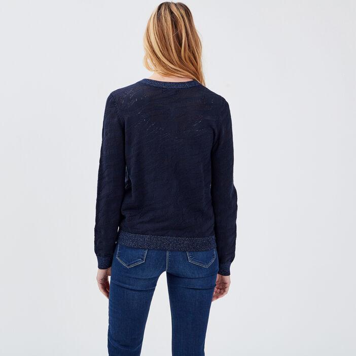Gilet manches longues zippé bleu foncé femme