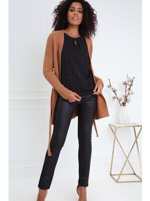 Pantalon taille basculee ajuste noir femme