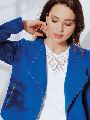 Veste droite details bijoux bleu electrique femme