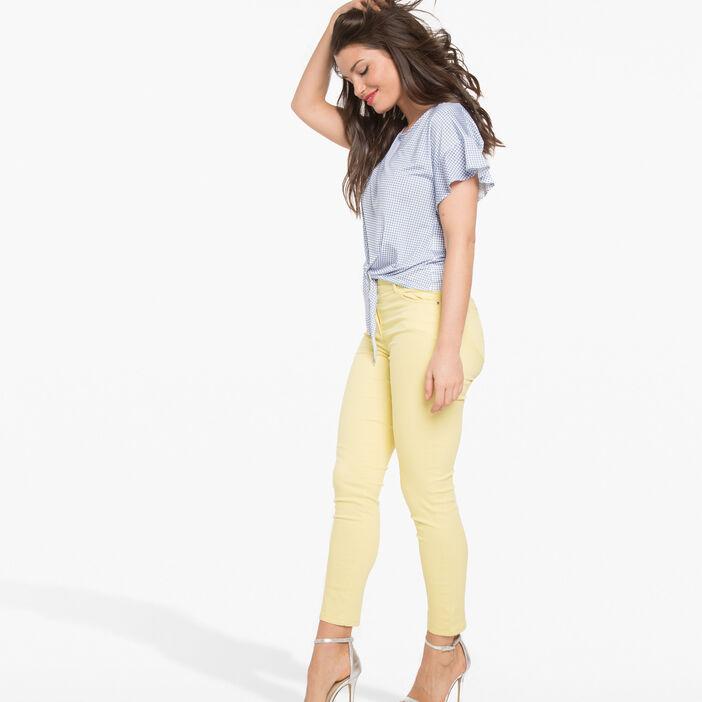 Pantalon léger toucher doux jaune femme