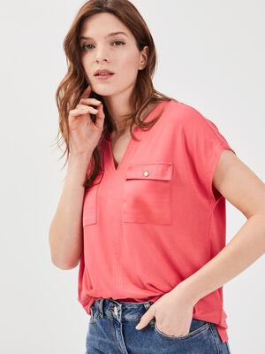 T shirt manches courtes rose vif femme