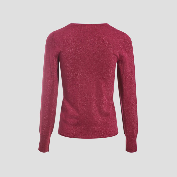 Pull manches longues rose framboise femme