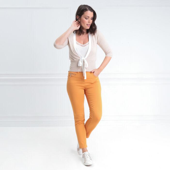 Pantalon ajusté taille haute jaune moutarde femme