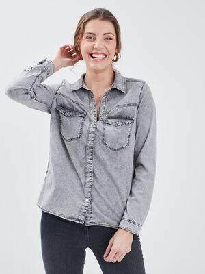 Chemise manches longues denim snow gris femme
