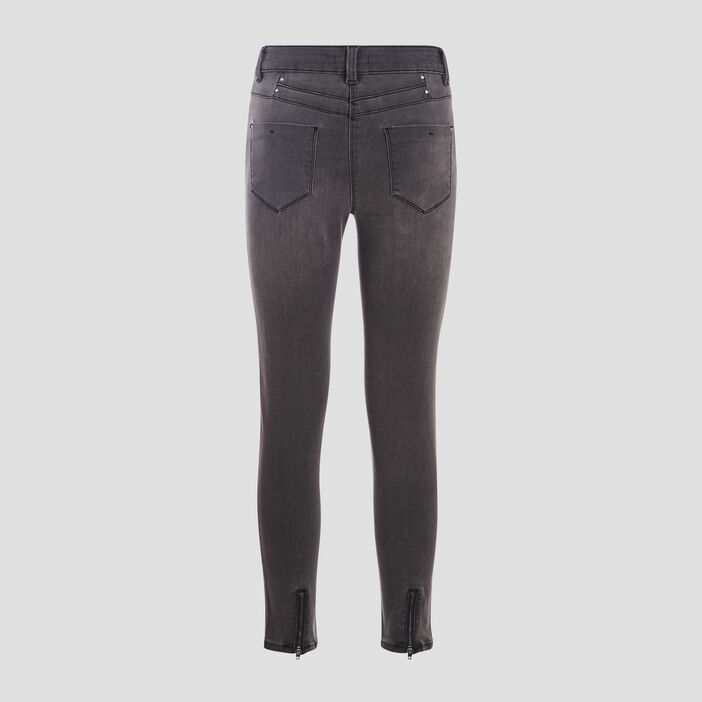 Pantalon ajusté détails zippés gris foncé femme