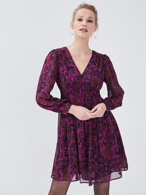 Robe evasee taille smockee violet femme
