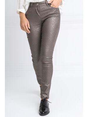 Pantalon pres du corps enduit marron fonce femme