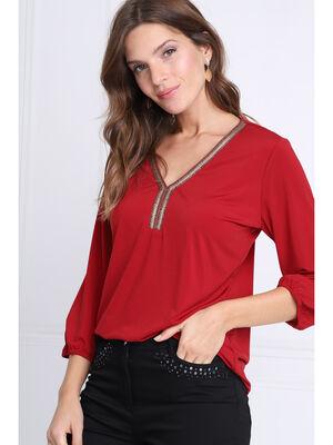 T shirt manches 34 col en V bordeaux femme