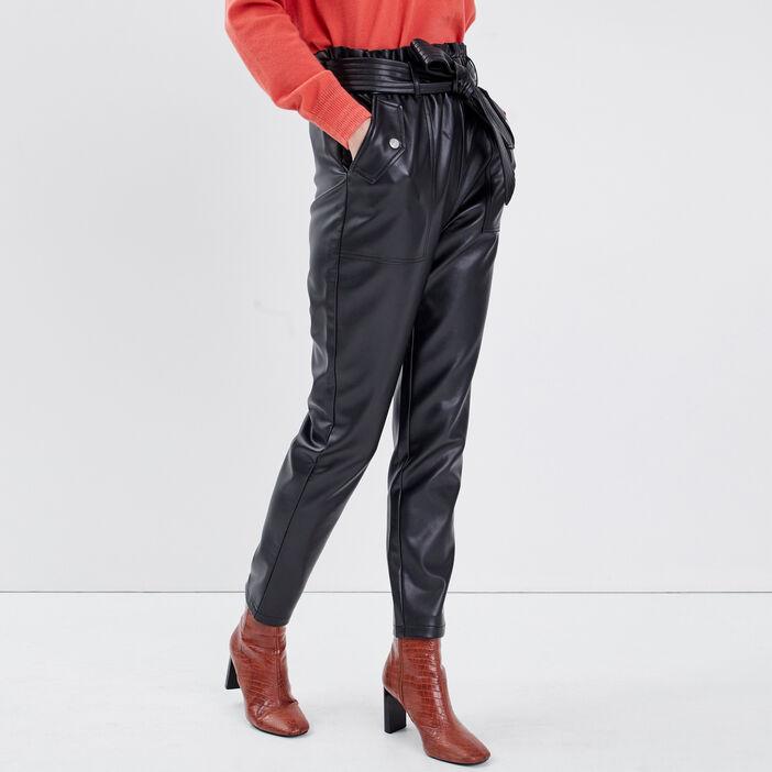 Pantalon paperbag taille haute noir femme
