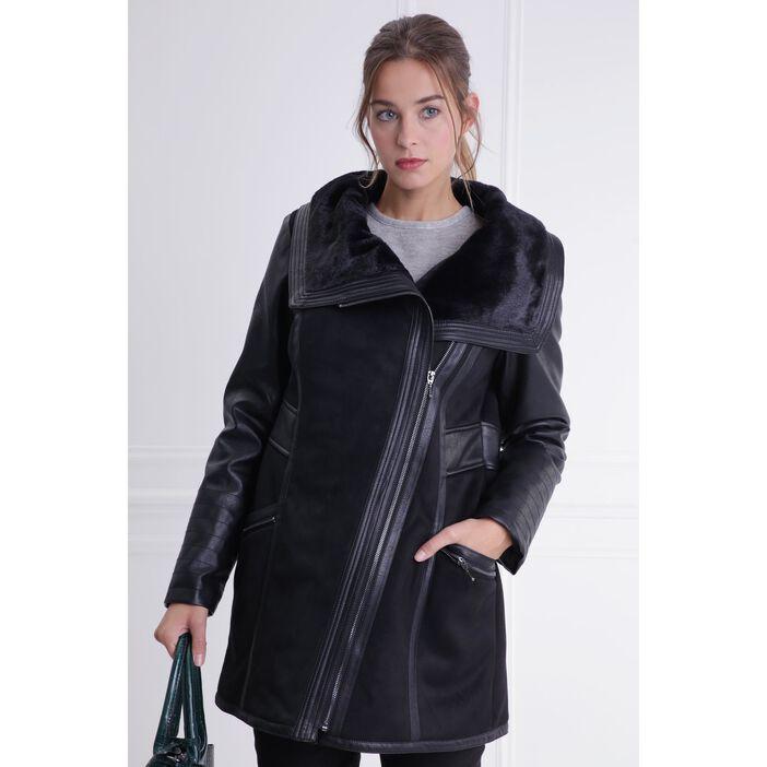 Manteau fourré effet suédine noir femme