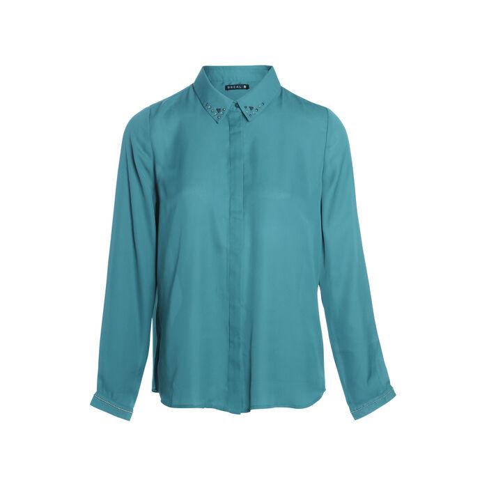 Chemise col français bijoux vert canard femme