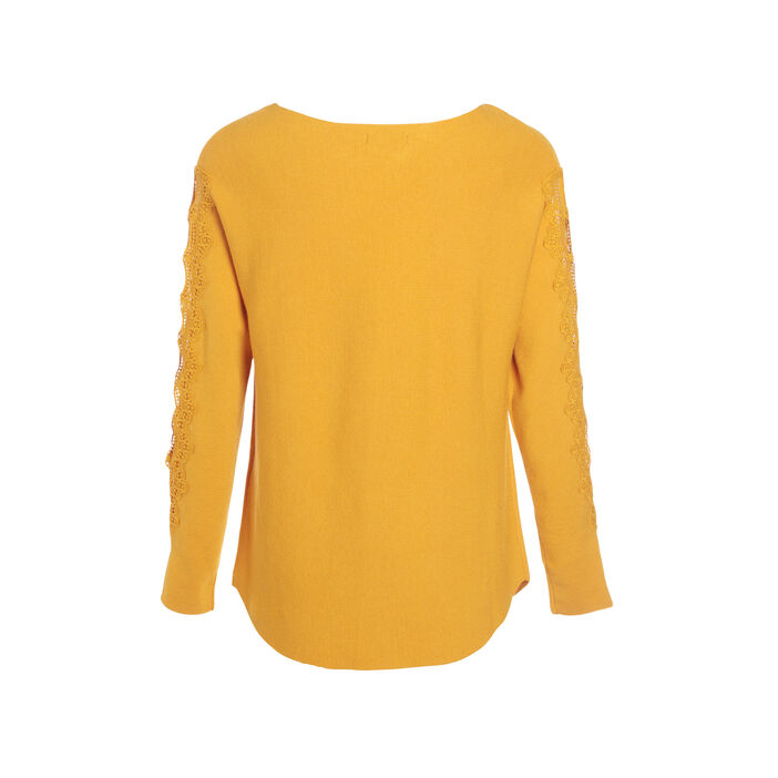 Pull manches longues macramé jaune or femme