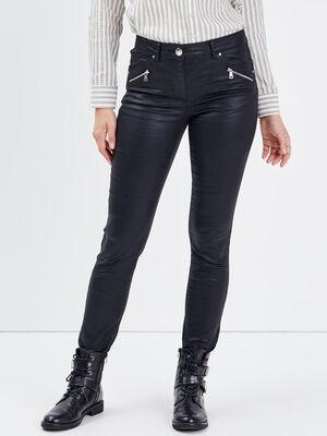 Pantalon ajuste details zippes noir femme