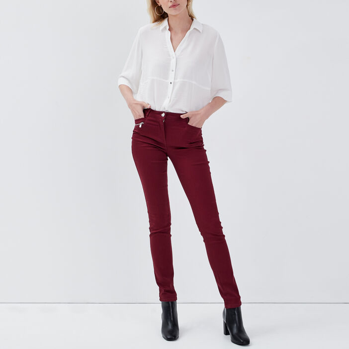 Pantalon ajusté bordeaux femme