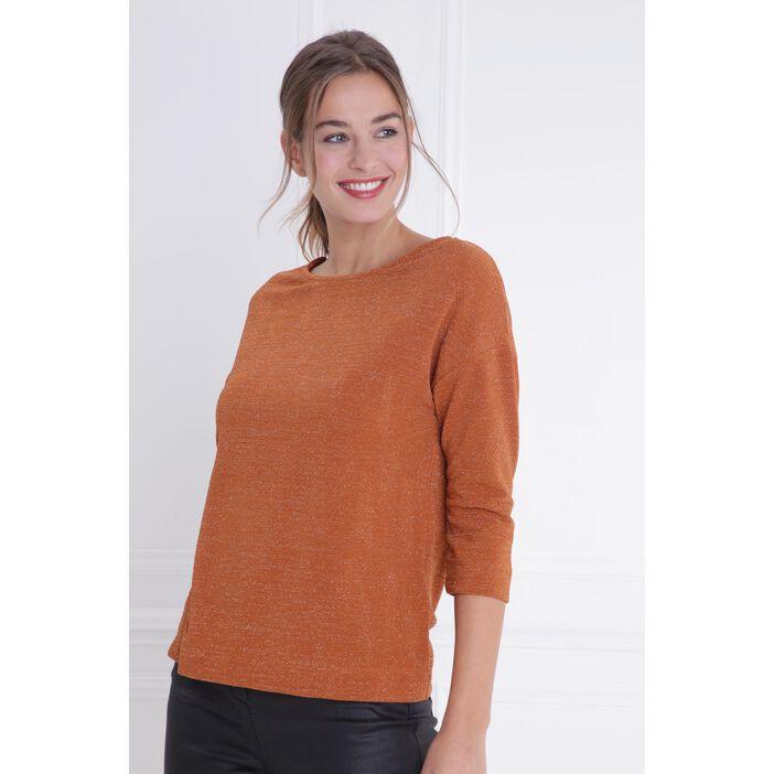 T-shirt col rond maille métallisée marron foncé femme