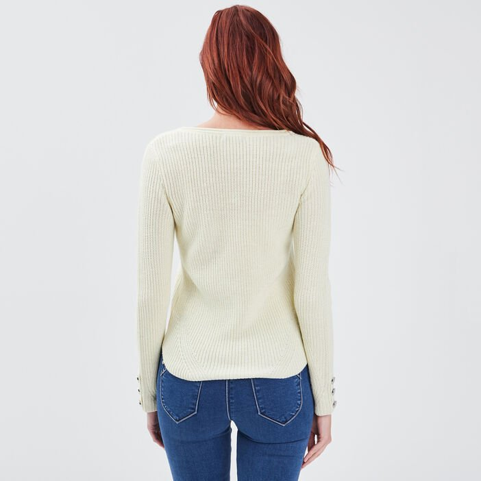 Pull manches longues jaune clair femme